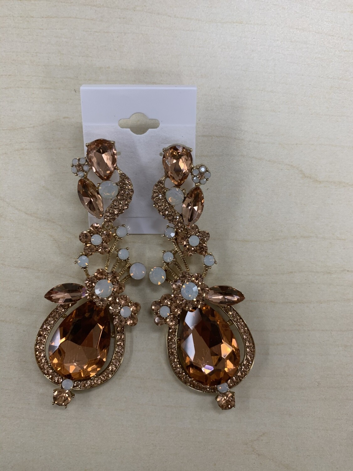Formal Earrings Rose Gold Large Detailed