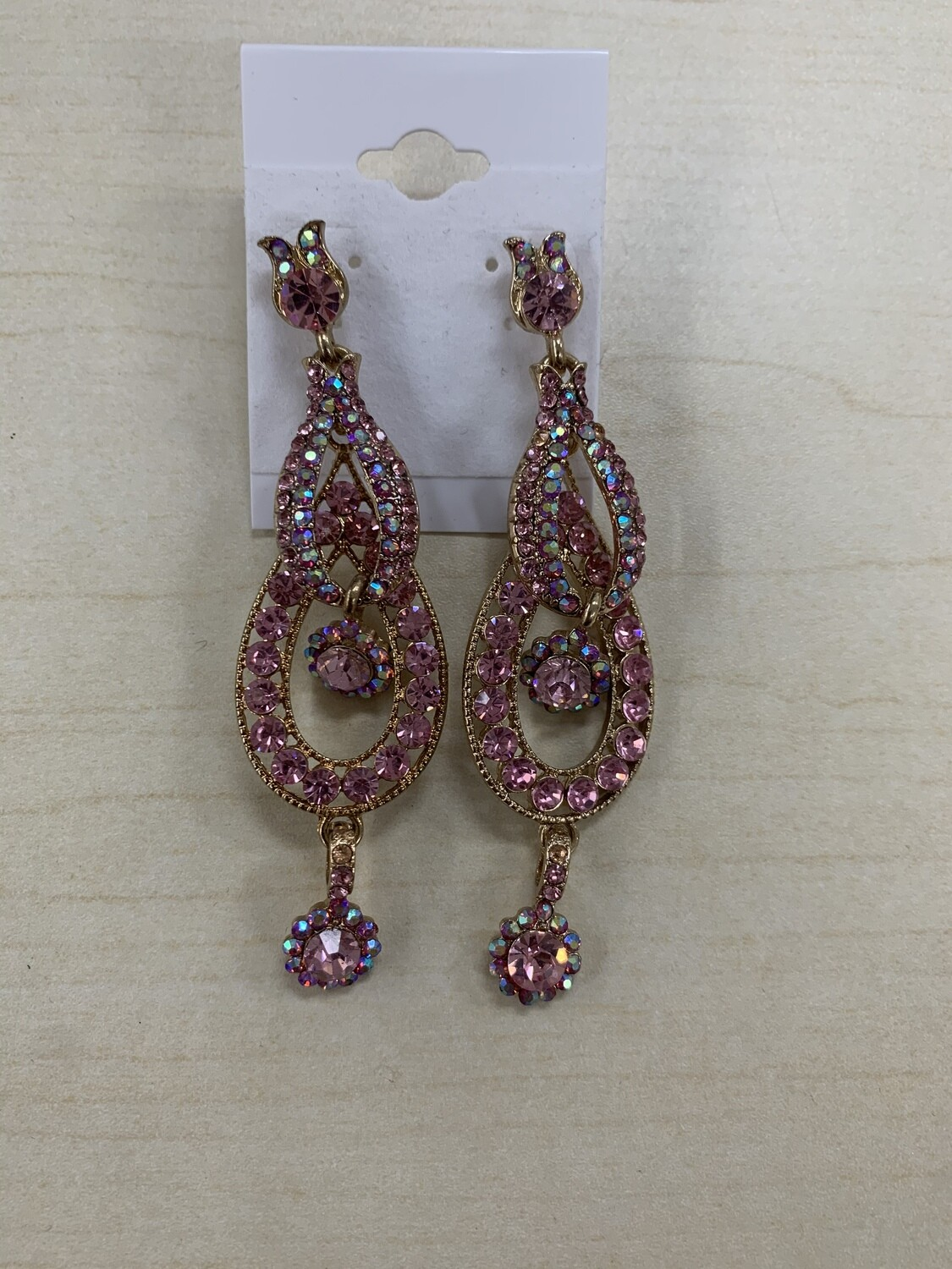 Formal Earrings Light Pink Gold Multicolor Stones
