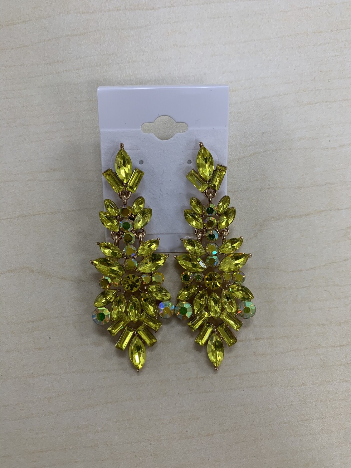 Formal Earrings Yellow Pointed Stones