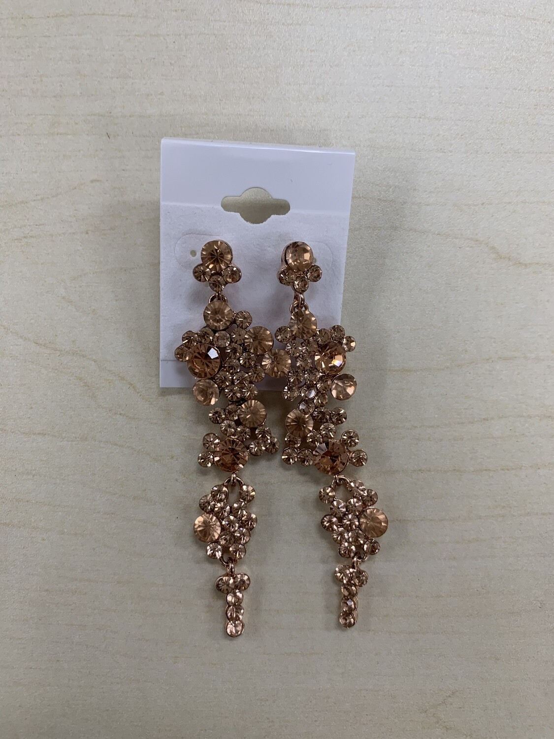 Formal Earrings Rose Gold Circles Long