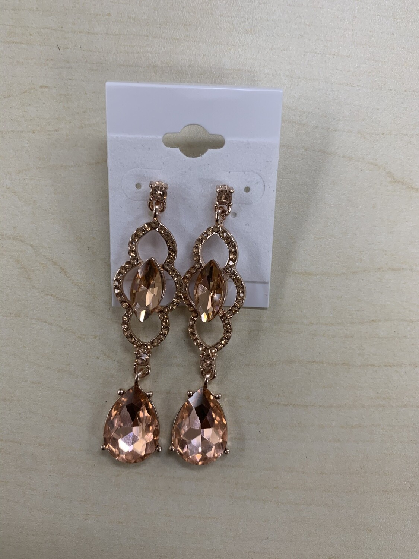 Formal Earrings Rose Gold Detailed Dangle