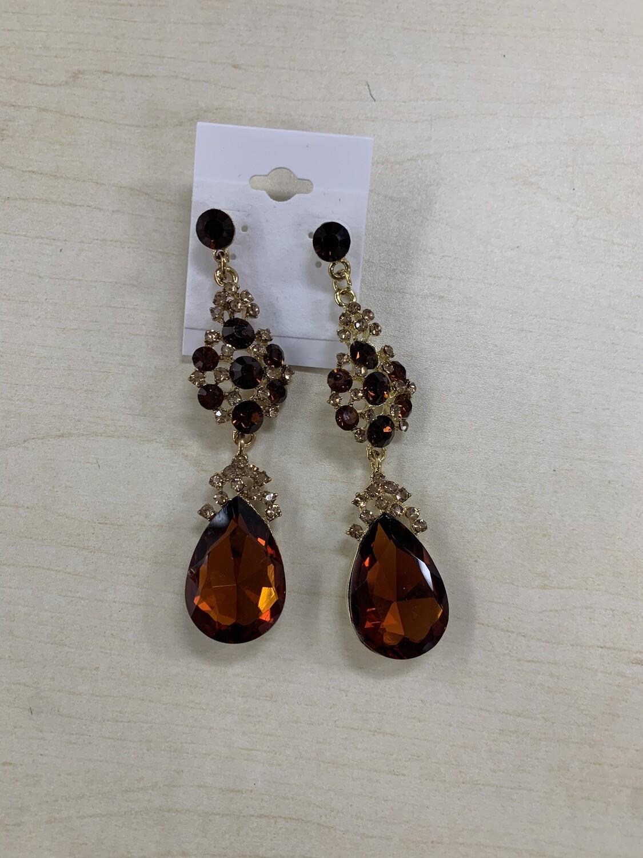 Formal Earrings Brown Gold Large Teardrop