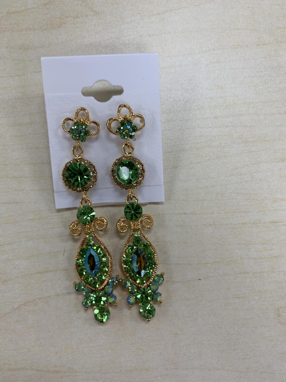 Formal Earrings Lime Gold Long