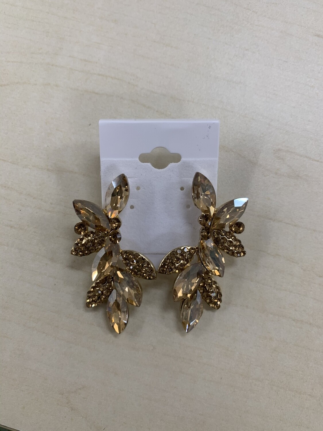 Formal Earrings Champagne Gold Leafy Small