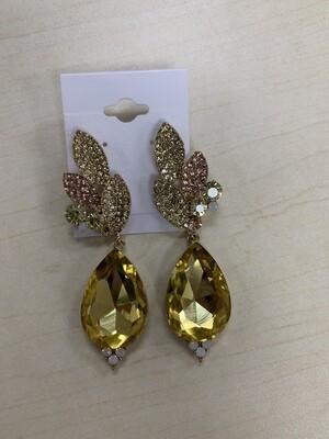 Formal Earrings Yellow with Pink Leafy Teardrop