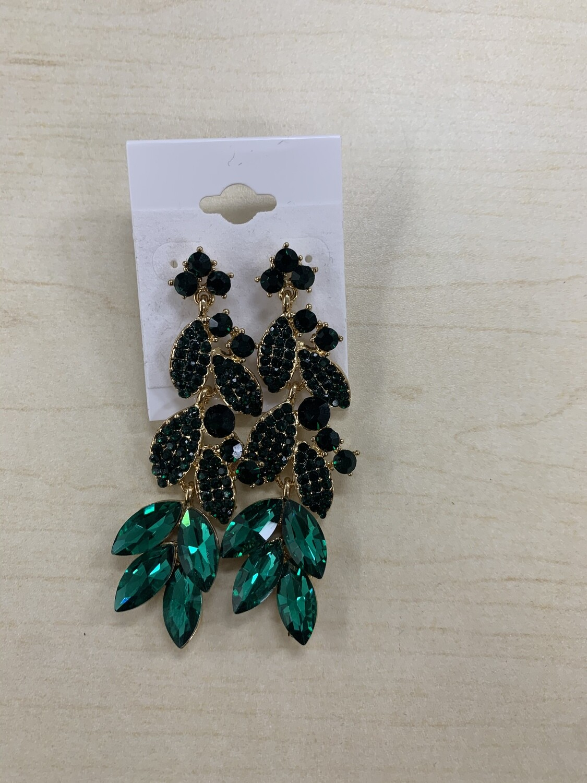 Formal Earrings Emerald Leafy Long