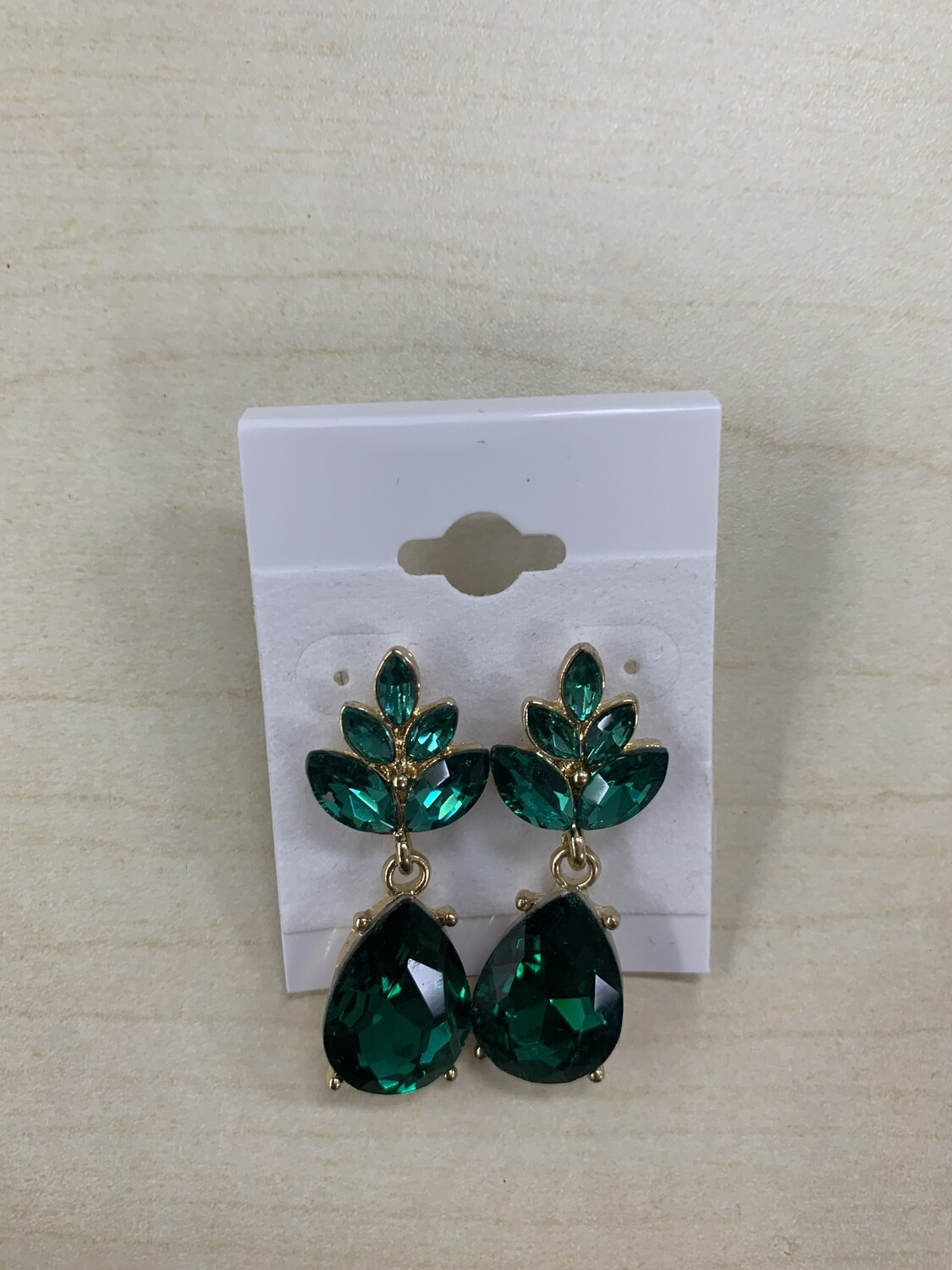 Formal Earrings Emerald Gold Small Stud
