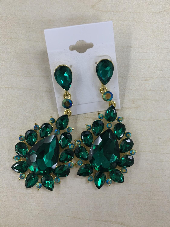 Formal Earrings Emerald Large Stone