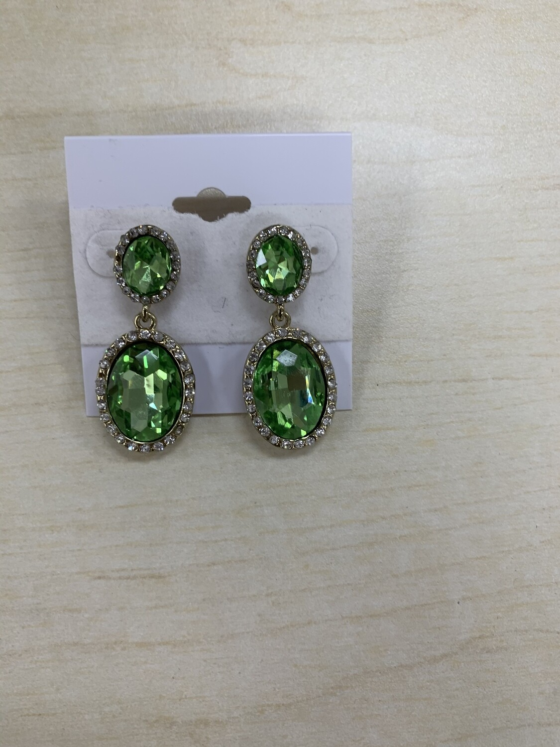 Formal Earrings Lime Green Oval Small