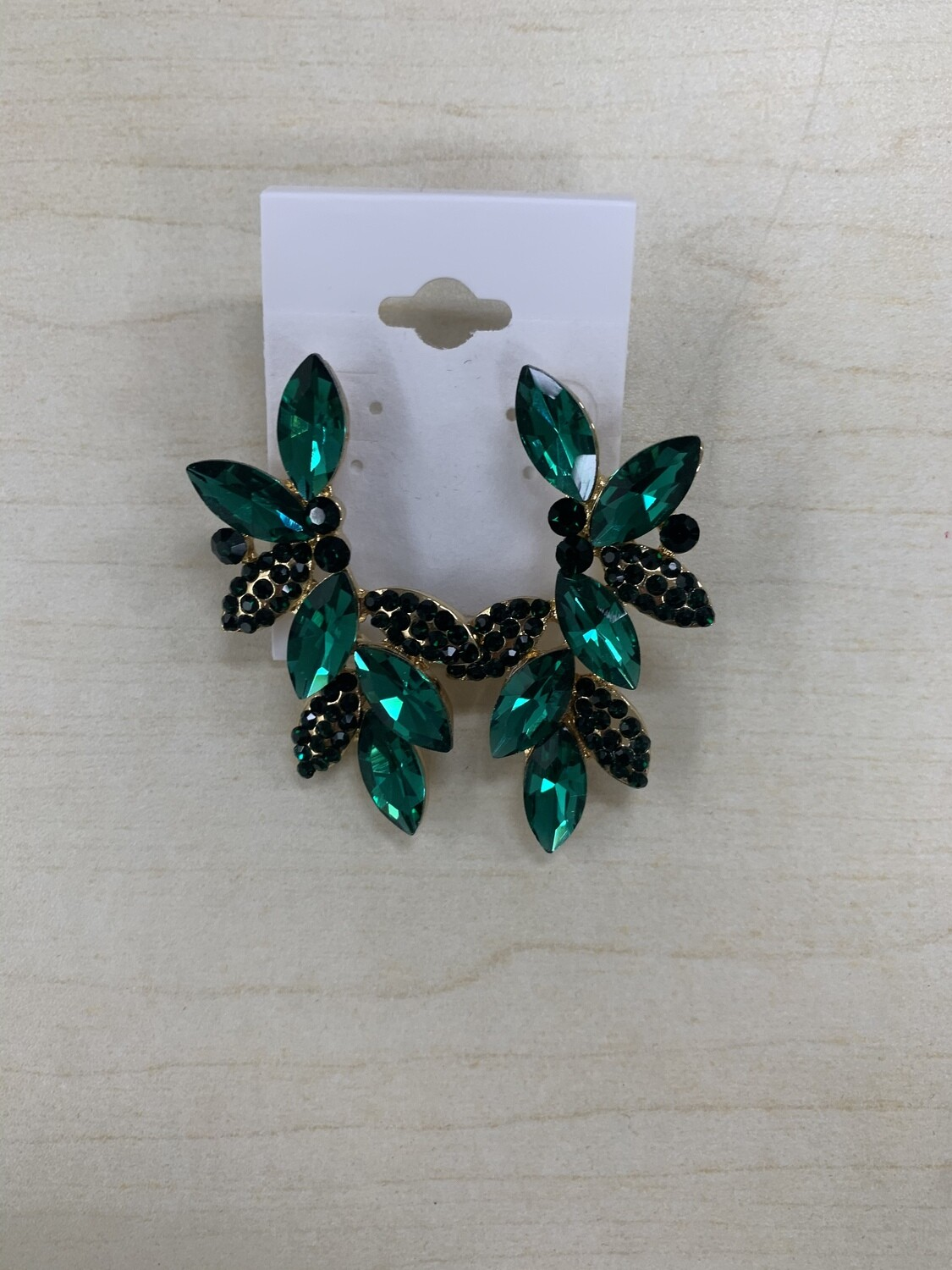 Formal Earrings Emerald Gold Leafy Small