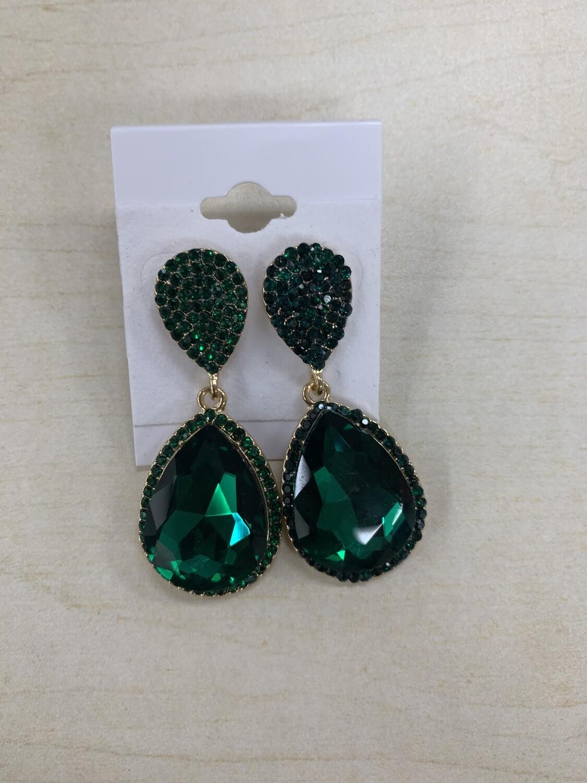 Formal Earrings Emerald Gold Two Teardrop