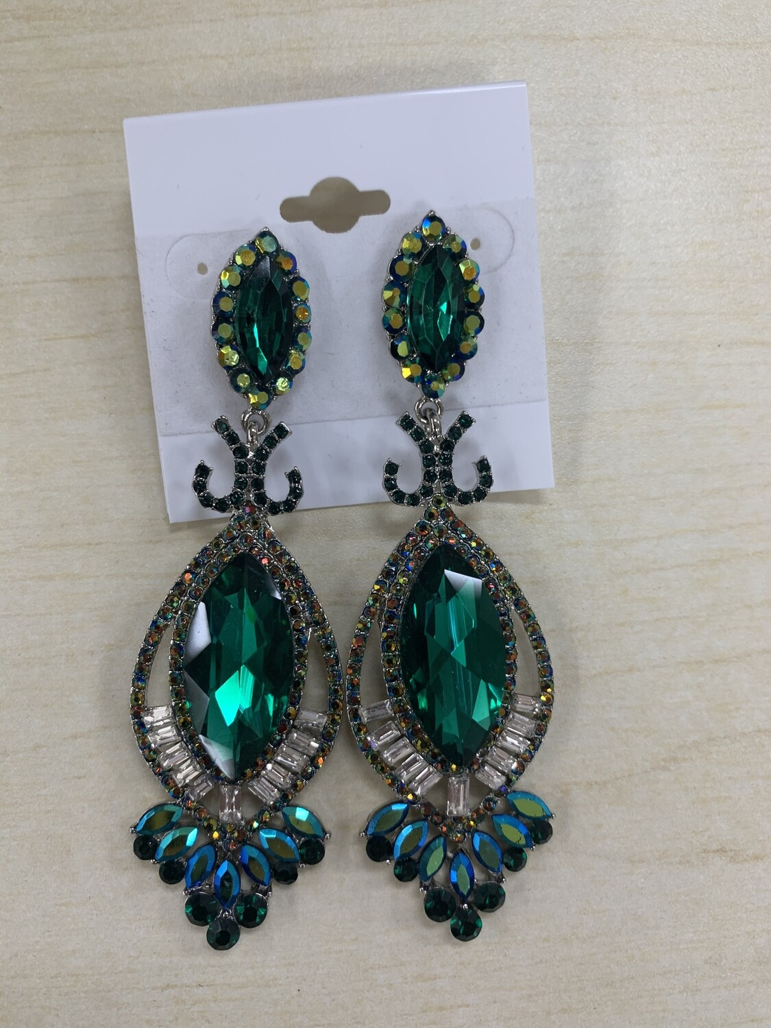 Formal Earrings Large Pointed Stone