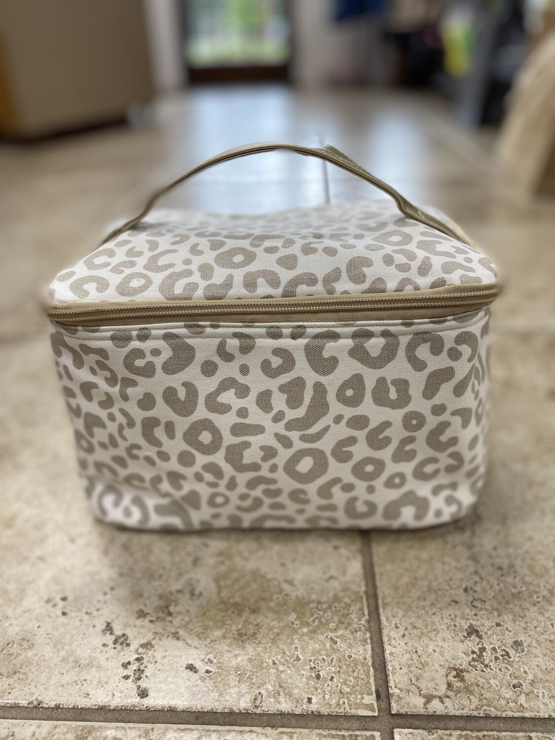 Natural Leopard Cosmetic Bag