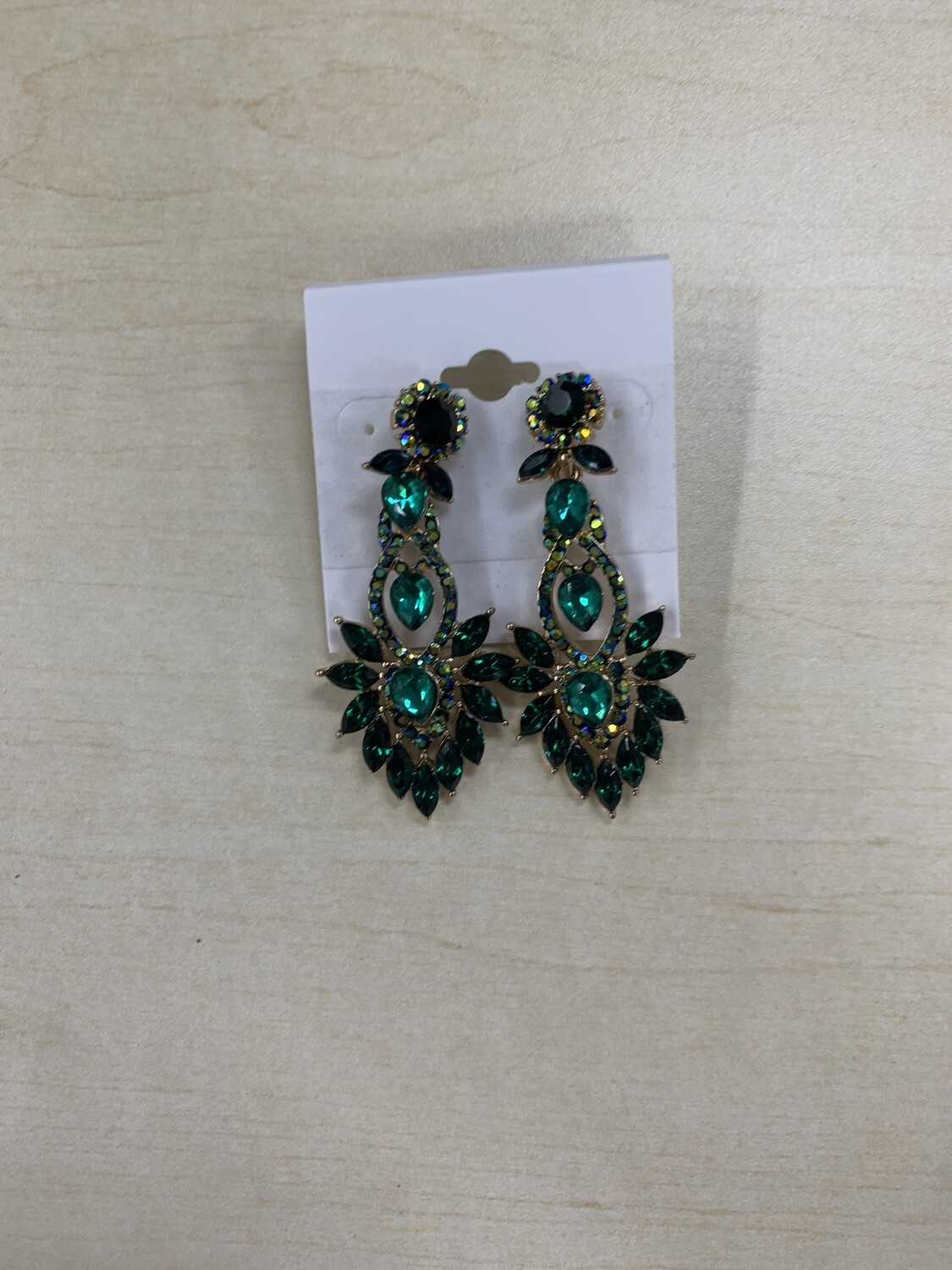 Formal Earrings Emerald Gold with Multi Jungle