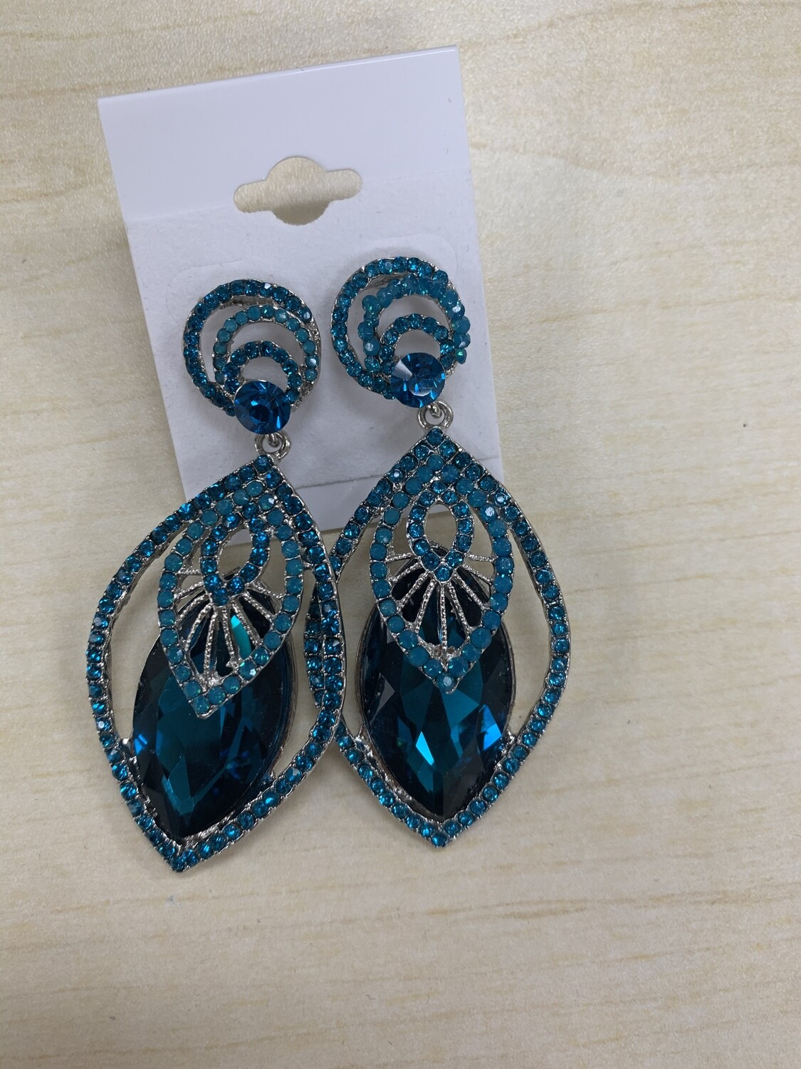 Formal Earrings Deep Turquoise Detailed Stone