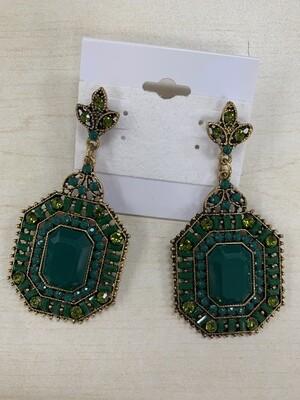Formal Earrings Green Square