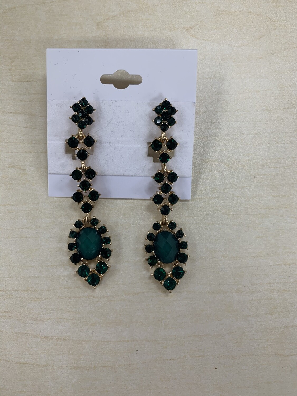 Formal Earrings Green Gold Thin