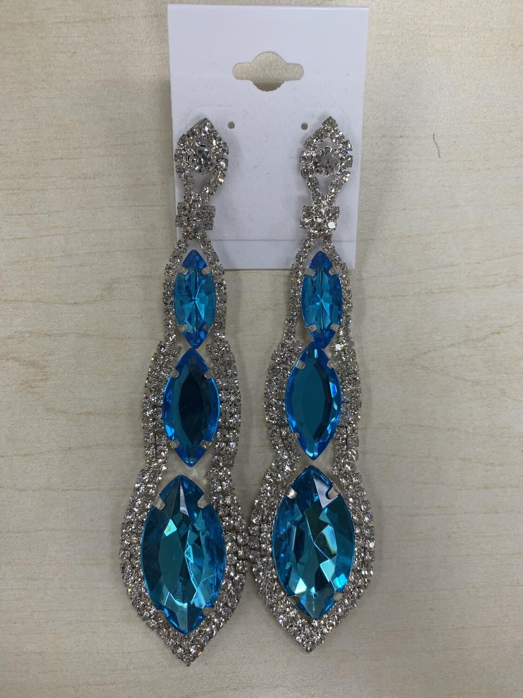 Formal Earrings Blue Silver Long