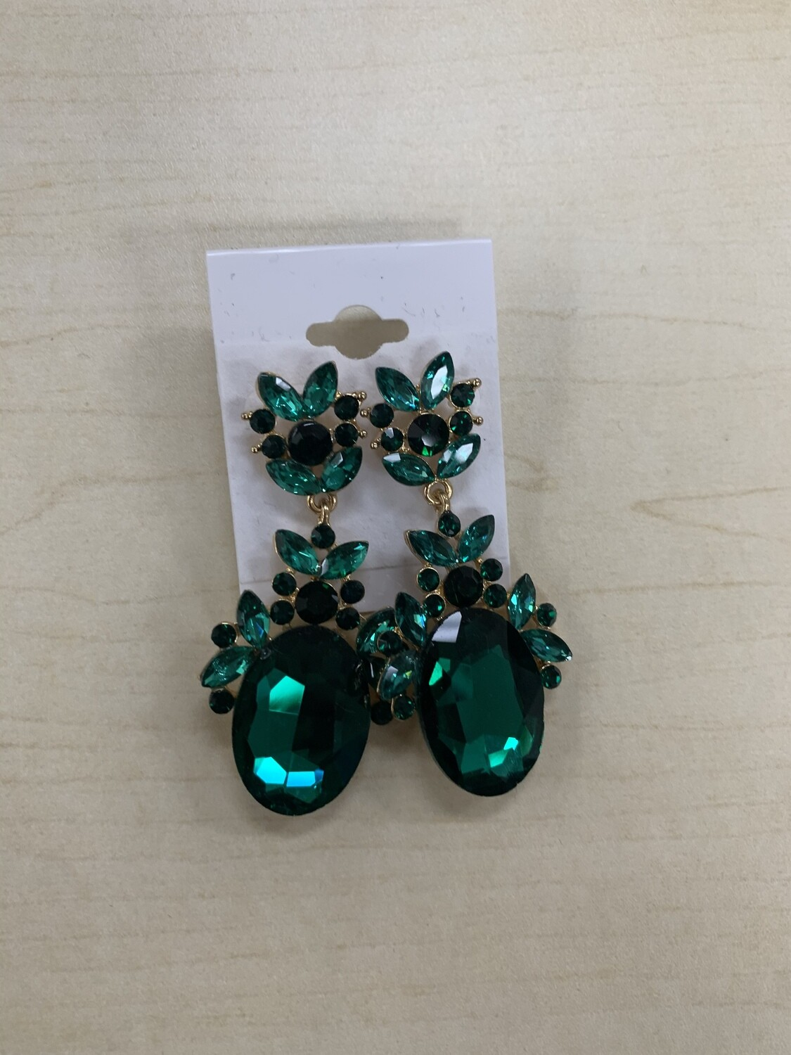 Formal Earrings Emerald Gold Detailed Oval