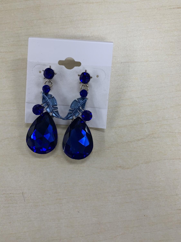 Formal Earrings Royal Blue Feather Teardrop