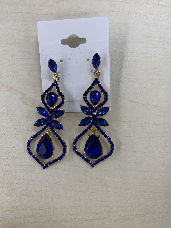 Formal Earrings Royal Blue Gold Bow