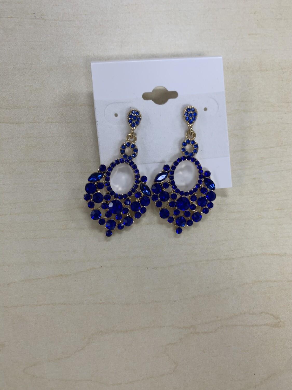 Formal Earrings Royal Blue Circles