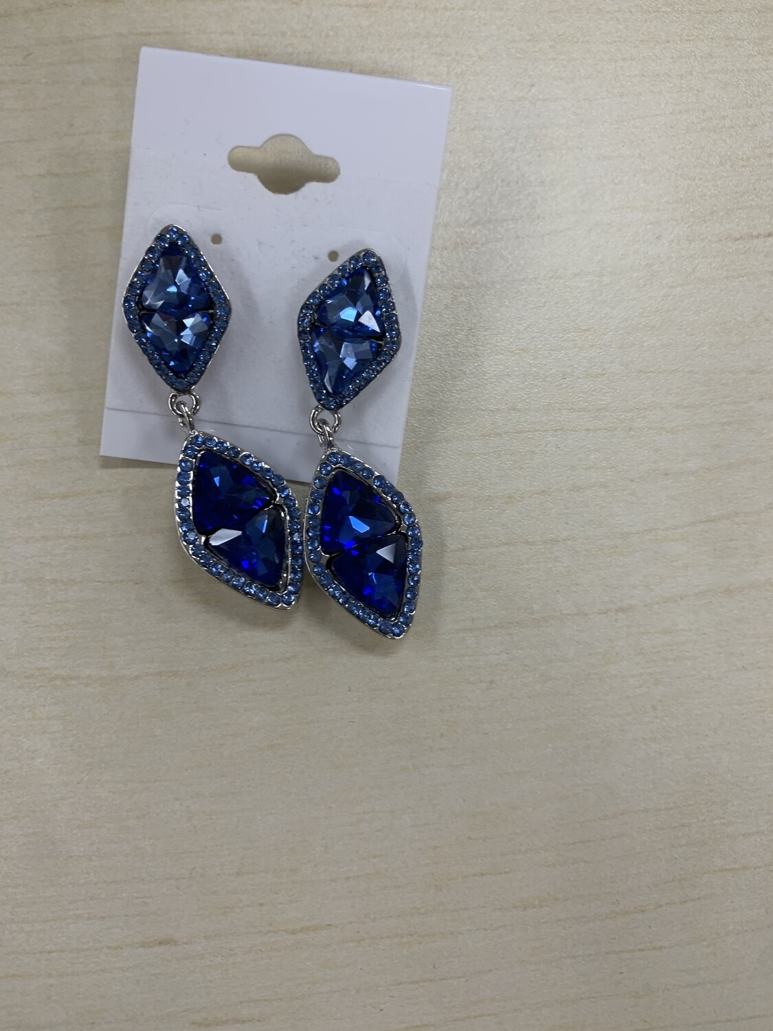Formal Earrings Dark Blue with Ice