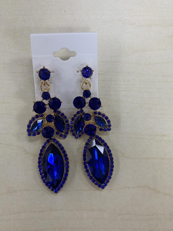 Formal Earrings Royal Blue Outlined