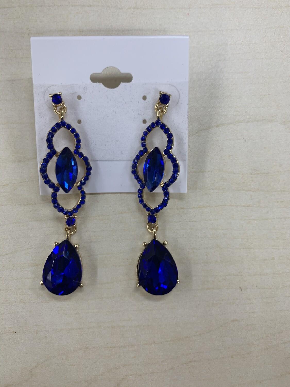 Formal Earrings Royal Blue Detailed Dangle
