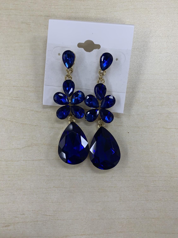 Formal Earrings Royal Blue Flower Teardrop