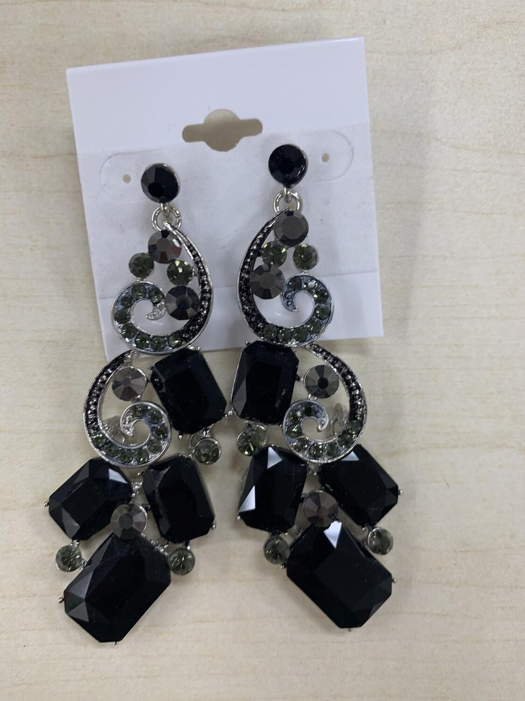 Formal Earrings Black Silver Large