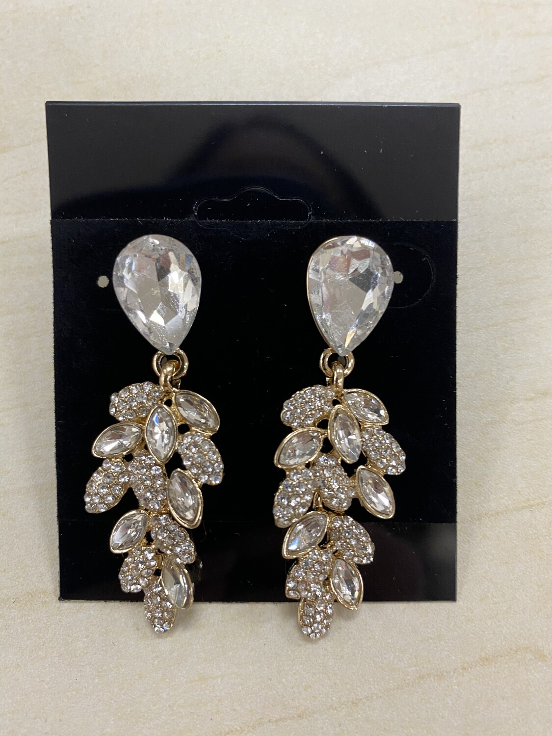 Formal Earrings Gold Clear Small Leaves