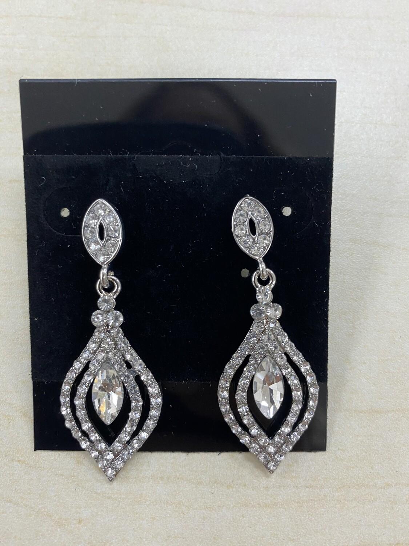 Formal Earrings Silver Clear Small Chandelier