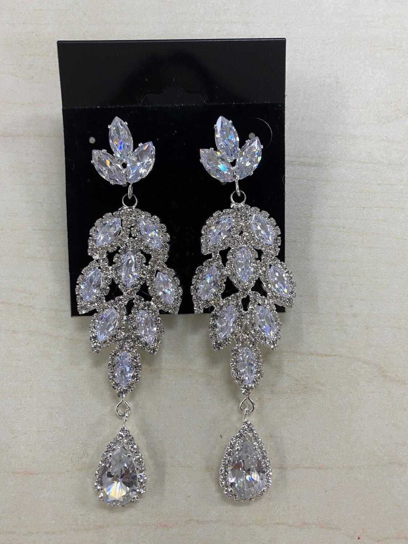 Formal Earrings Silver Clear CZ Long Leaves