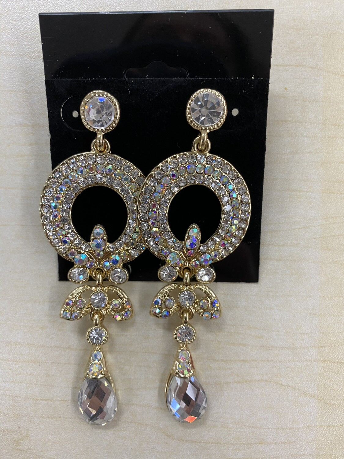Formal Earrings Gold Clear with AB Round Middle Dangle