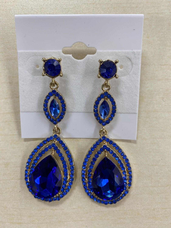 Formal Earrings Blue Outlined Teardrop