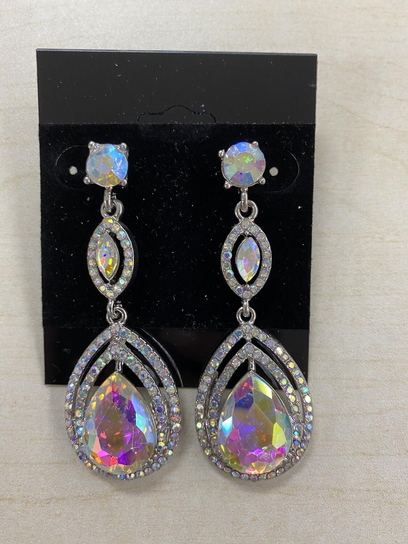 Formal Earrings Silver AB Outlined Teardrop