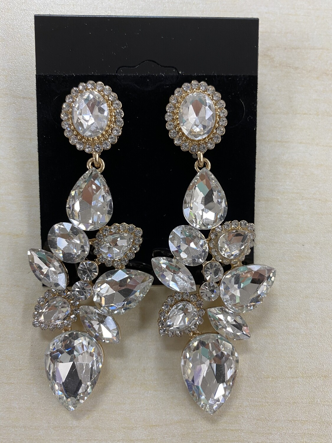 Formal Earrings Gold Clear Willow