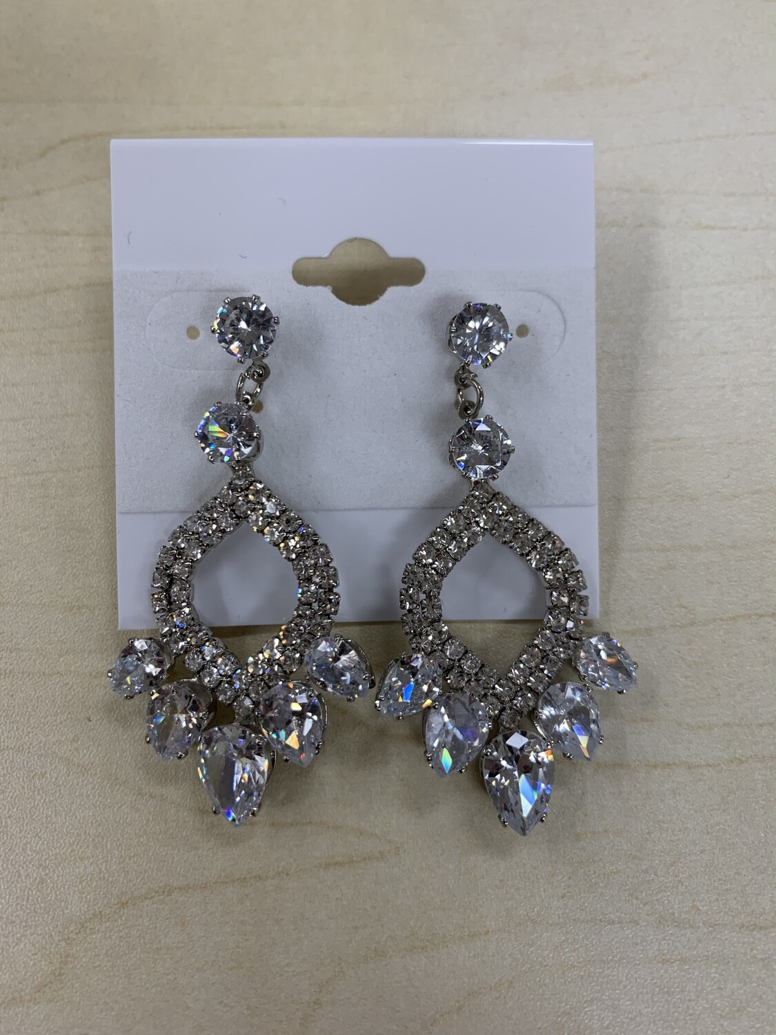 Formal Earrings Silver Clear CZ Pointed Oval
