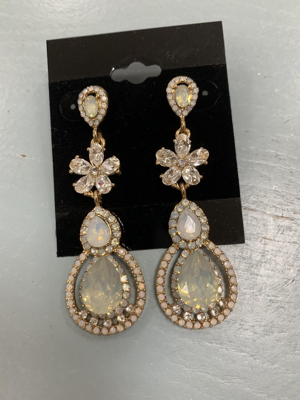Formal Earrings Gold Clear White Mint
