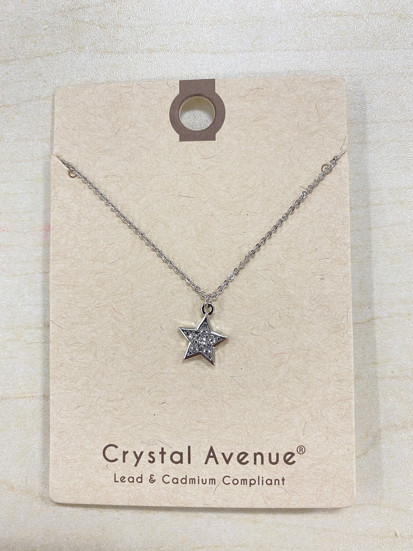 XS Silver Rhinestone Star Necklace