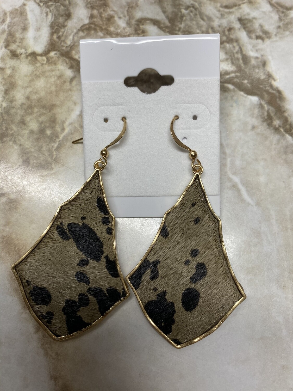 Genuine Leather Animal Print Earrings Gold Base