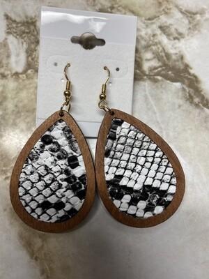 Wooded Snakeskin Teardop Earrings