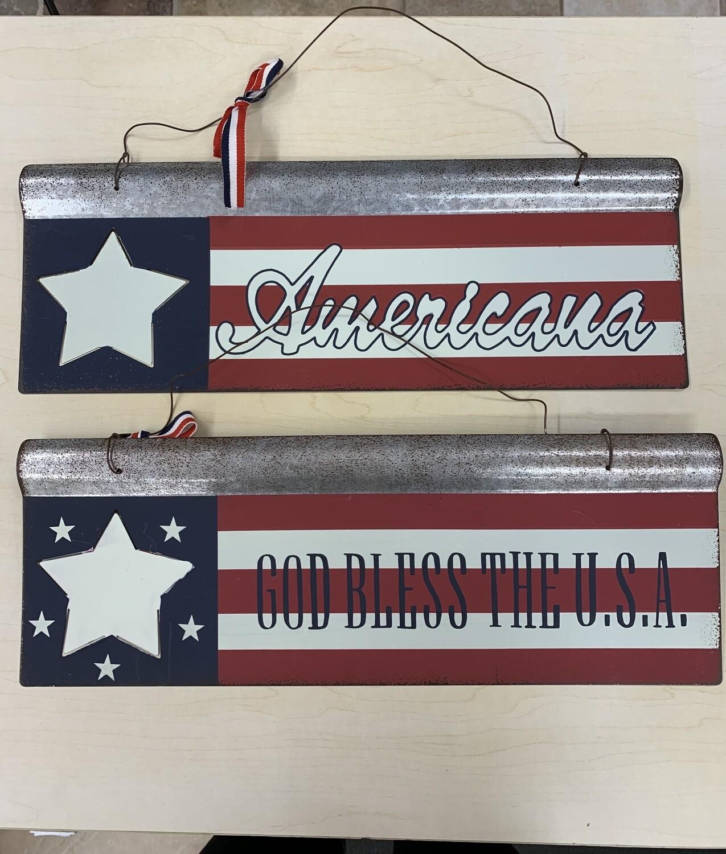 US Flag Tin Plaque