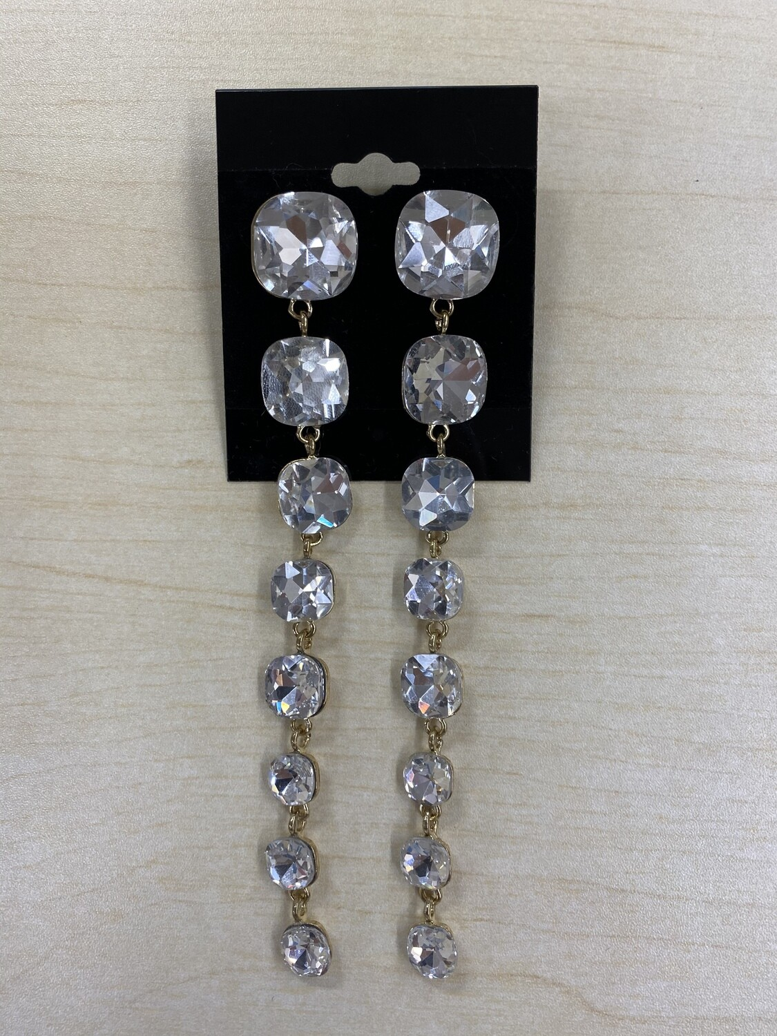 Formal Earrings Gold Clear Square Stones Extra Long