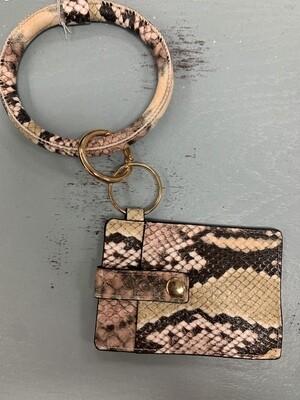 Pink Snakeskin Bangle with Cardholder Wallet