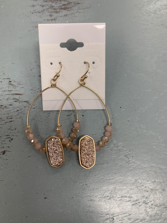 Beaded Drop Earrings with Druzy Stone