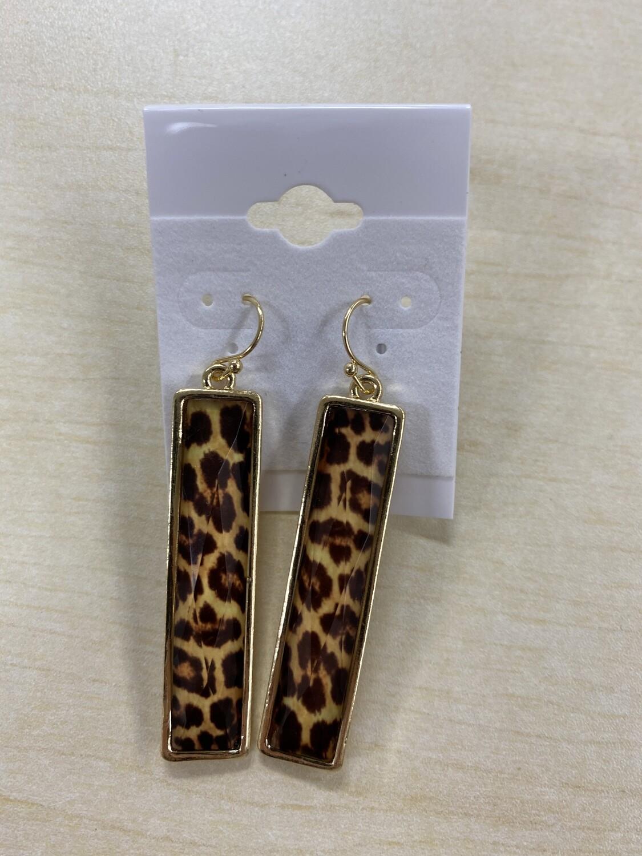 Rectangular Leopard Print Bar Gold Earrings