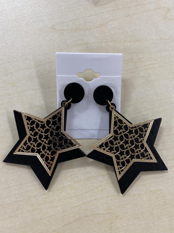 Wooden Star Gold Overlay Earrings