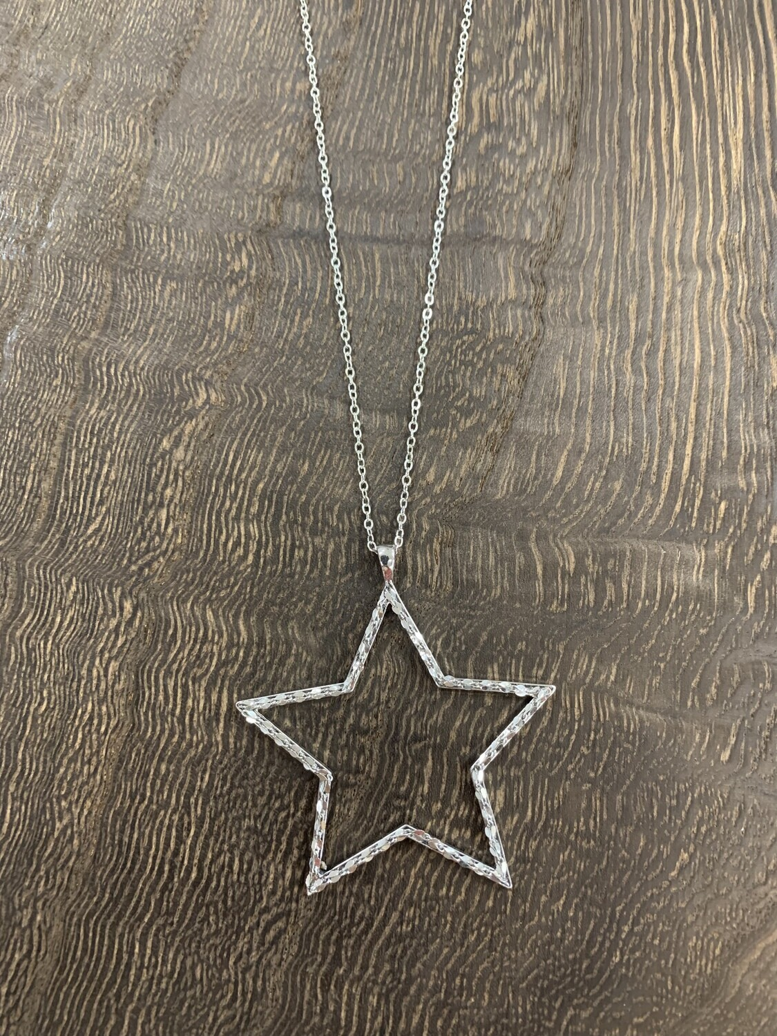 Long Silver Basic Star Outline Necklace